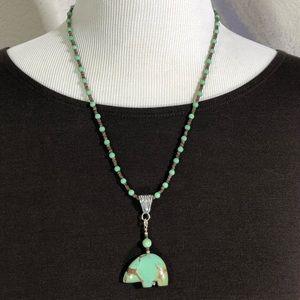 AD LOPEZ Spirit Bear Turquoise & Heishi Necklace